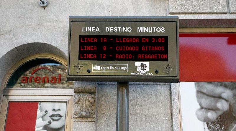 Un informático coruñés hackea los paneles de los buses urbanos de Lugo y publica información privada de cada línea