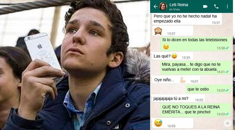 "Se filtran varios mensajes de Froilán a Doña Letizia: ""Que no me toques a la abuela, payasa"""