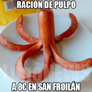 Ración de pulpo.. a 8€ en San Froilán