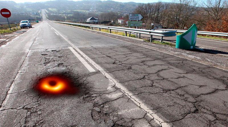 Advierten del sospechoso parecido entre la primera fotografía de un agujero negro y los baches de las carreteras de Lugo