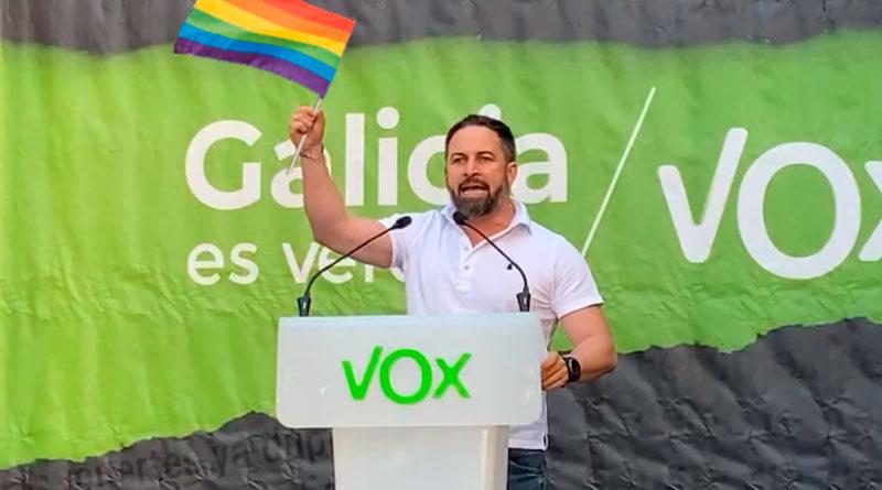 Santiago Abascal sorprende en su mitin de Lugo declarándose homosexual y afirma que, si pudiera, él votaría al BNG