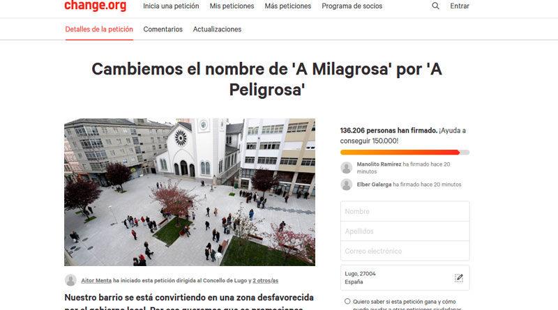 Una petición en change.org aboga por cambiar el nombre del barrio de 'A Milagrosa' por 'A Peligrosa'