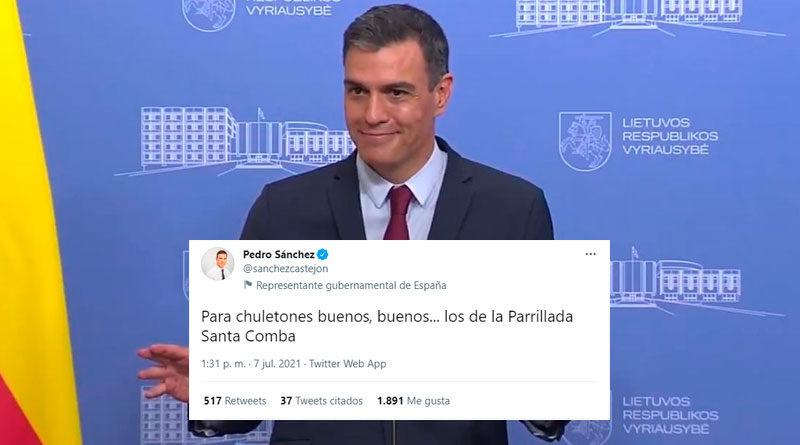 Pedro Sánchez en Twitter: «Para chuletones buenos, buenos… los de la Parrillada Santa Comba»